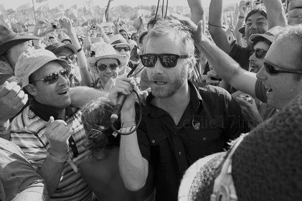 The National's Matt Berniger joins the crowd at Glastonbury