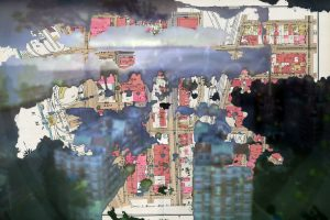 The images have been captured from drone footage using a pinhole attachment on a DSLR camera.  The resulting images have been combined  with a series of maps of the city where the drone footage was taken.