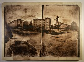camera obscura with photo editing – cyanotype print